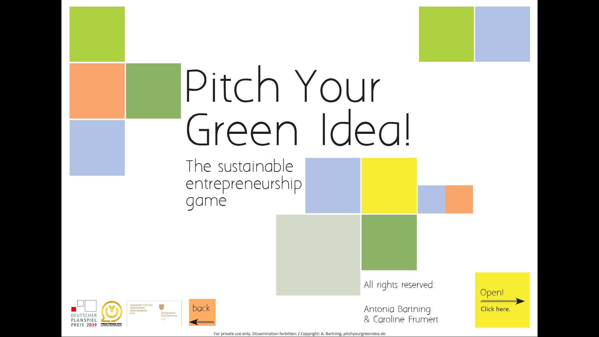 Pitch your green Idea, digitales Spielbrett